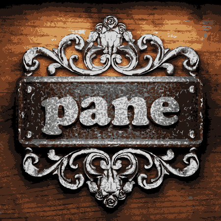 panes: vector iron word on wooden background