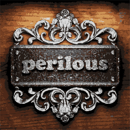 perilous: vector iron word on wooden background