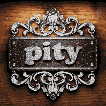 pity: vector iron word on wooden background