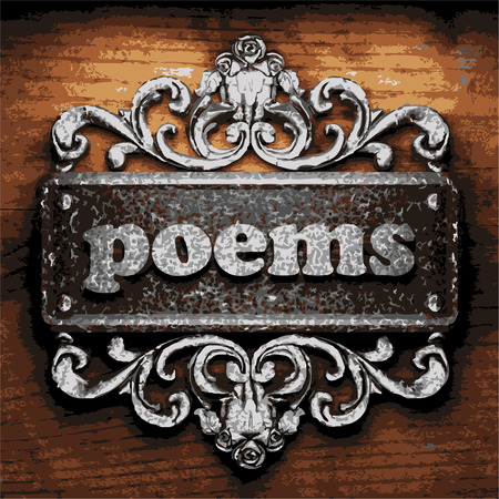 poems: vector iron word on wooden background
