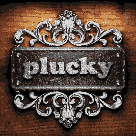 plucky: vector iron word on wooden background