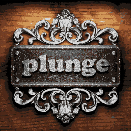 plunge: vector iron word on wooden background