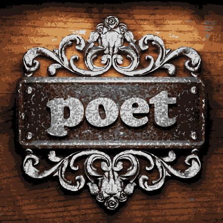 poet: vector iron word on wooden background