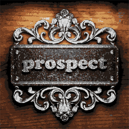 prospects: vector iron word on wooden background
