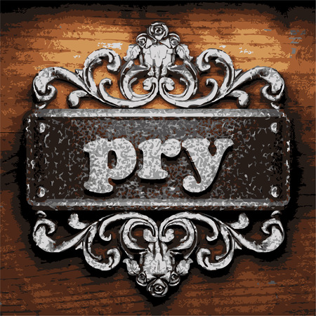 pry: vector iron word on wooden background