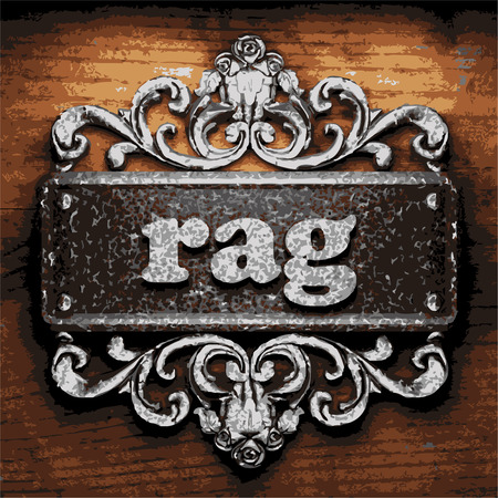 rags: vector iron word on wooden background