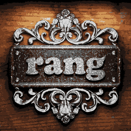 rang: vector iron word on wooden background