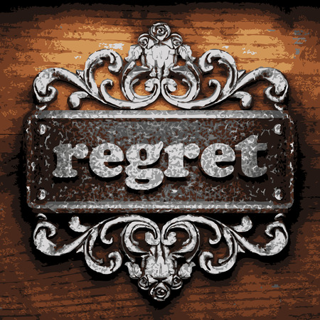 regret: vector iron word on wooden background