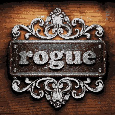 rogue: vector iron word on wooden background