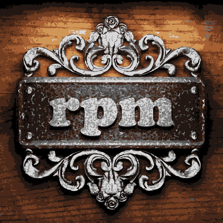 rpm: vector iron word on wooden background