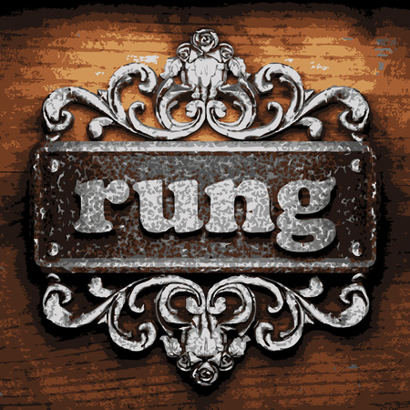 rung: vector iron word on wooden background