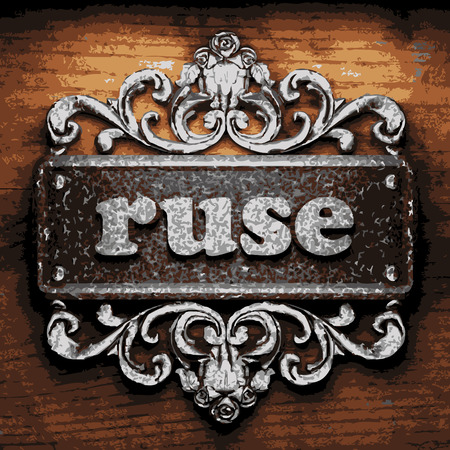 ruse: vector iron word on wooden background