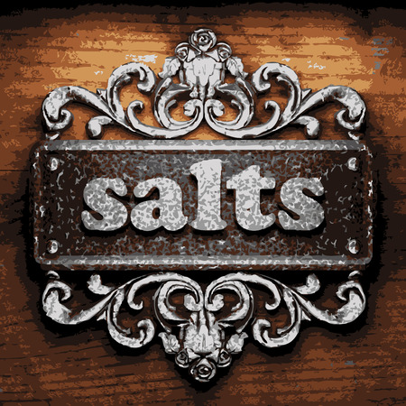 salts: vector iron word on wooden background