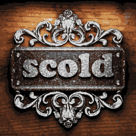 scold: vector iron word on wooden background