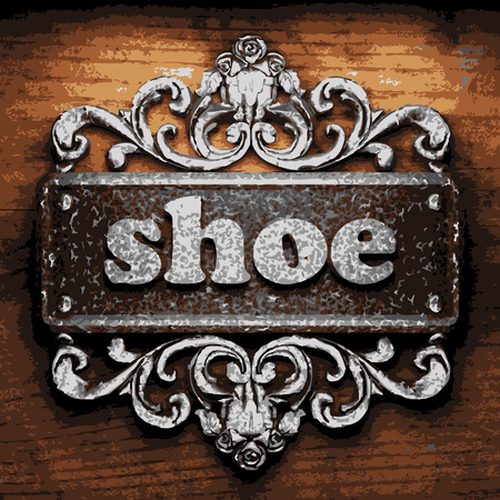 wooden shoes: vector iron word on wooden background