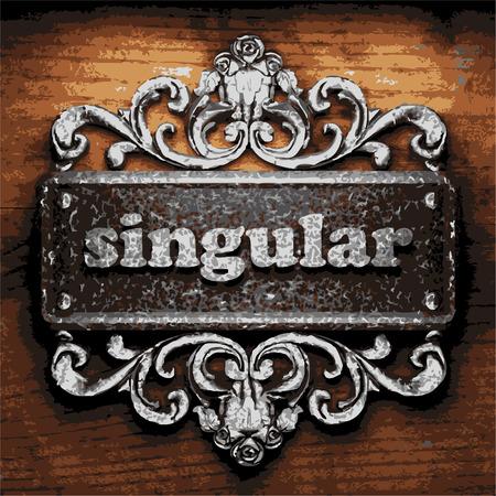 singular: vector iron word on wooden background