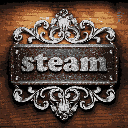 steam of a leaf: vector iron word on wooden background