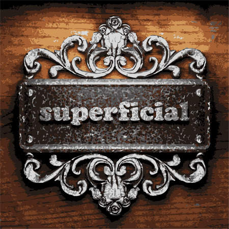 superficial: vector iron word on wooden background