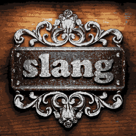 slang: vector iron word on wooden background