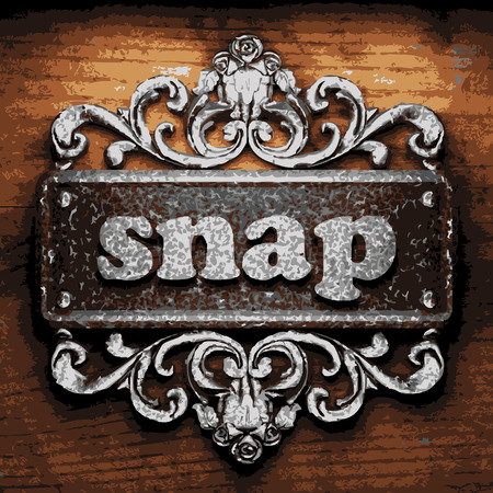 snaps: vector iron word on wooden background