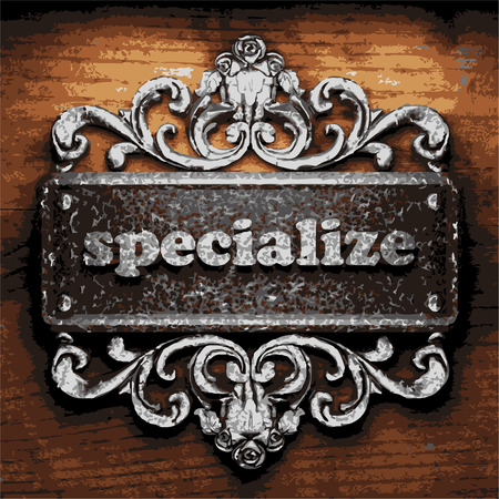 specialize: vector iron word on wooden background