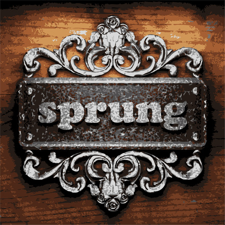 sprung: vector iron word on wooden background