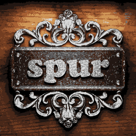 spur: vector iron word on wooden background