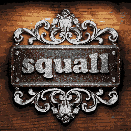 squall: vector iron word on wooden background