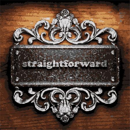 straightforward: vector iron word on wooden background