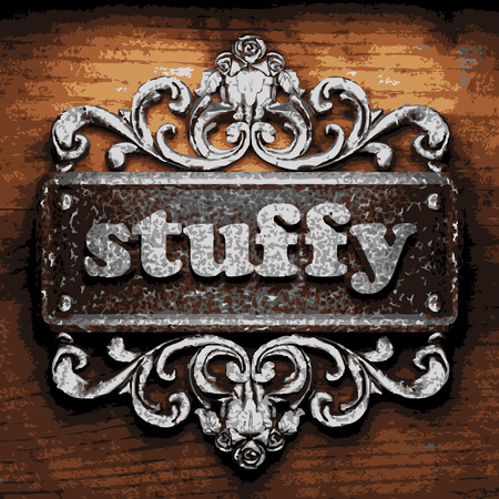 stuffy: vector iron word on wooden background