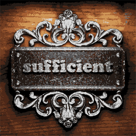sufficient: vector iron word on wooden background