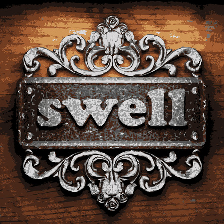 swell: vector iron word on wooden background