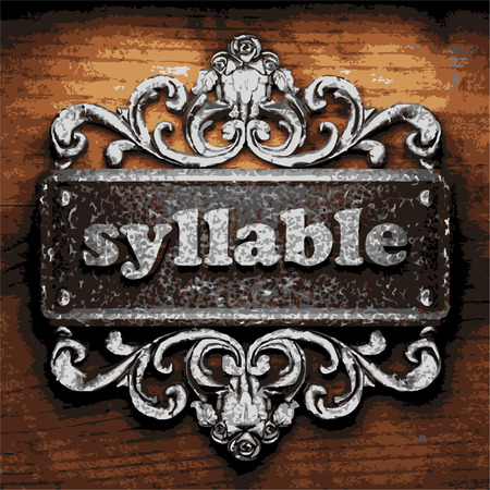 syllable: vector iron word on wooden background