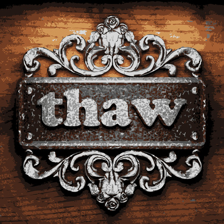 thaw: vector iron word on wooden background