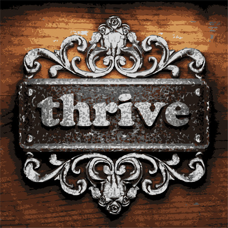 thrive: vector iron word on wooden background