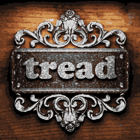 tread plate: vector iron word on wooden background