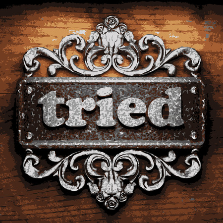 tried: vector iron word on wooden background