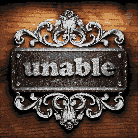 unable: vector iron word on wooden background