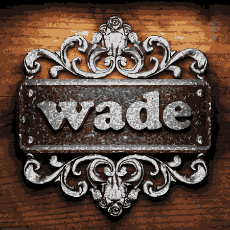 wade: vector iron word on wooden background