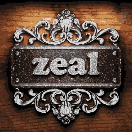 zeal: vector iron word on wooden background