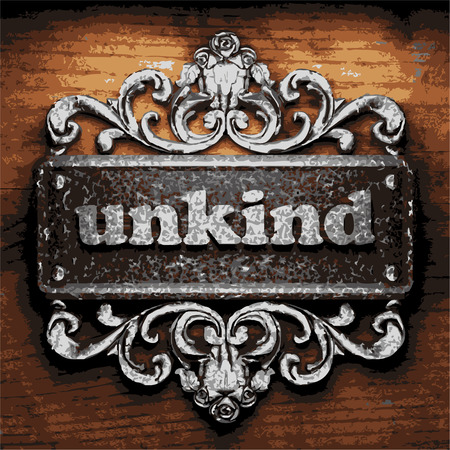 unkind: vector iron word on wooden background