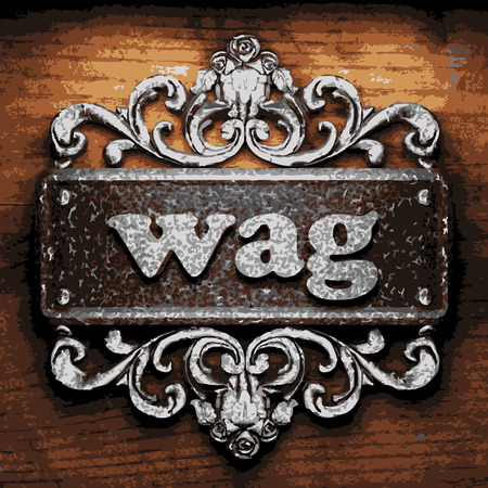 wag: vector iron word on wooden background