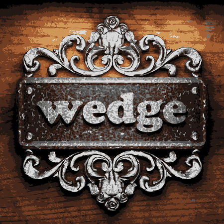 wedge: vector iron word on wooden background