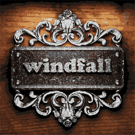 windfall: vector iron word on wooden background