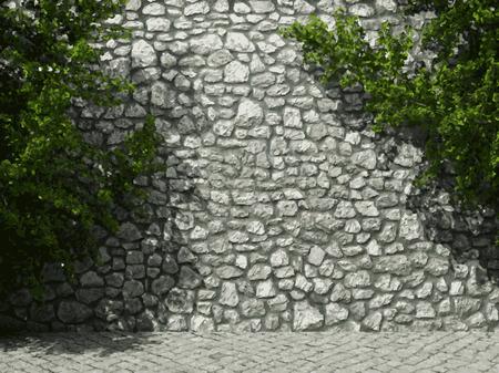 stonework: vector illuminated stone wall and ivy