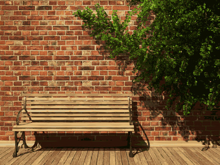 vector ivy and brick background Illustration