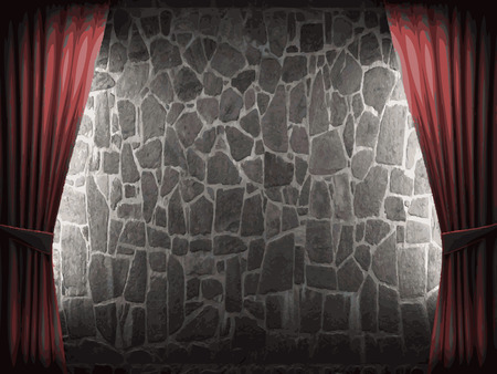 ambiance: vector velvet curtain and stone wall background Illustration