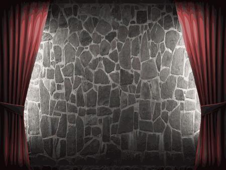 velvet: vector velvet curtain and stone wall background Illustration