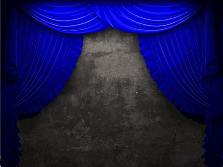 opulent: vector velvet curtain and stone wall background Illustration