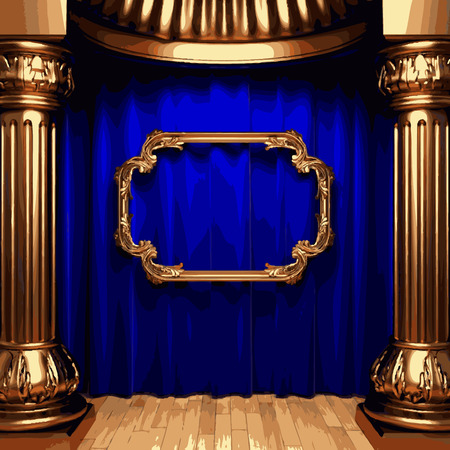 carmine: vector golden frame and blue curtain stage